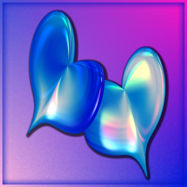 Blue Iridescent Hearts